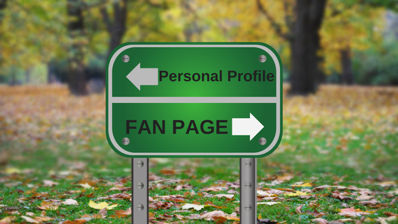 green road sign - personal profile or business fan page on Facebook